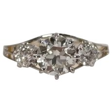 Edwardian Platinum and Gold Diamond Engagement Ring