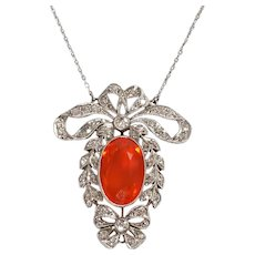 Art Deco Platinum Diamond and Fire Opal Pendant