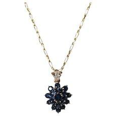18K Yellow Gold Sapphire and Diamond Pendant