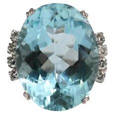 H Atern 18k White Gold Aquamarine and Diamond Ring