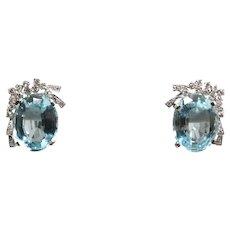 H Stern 18k White Gold Aquamarine and Diamond Earrings