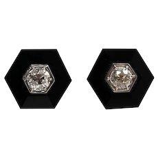 Platinum Diamond and Onyx Earrings