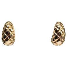 18k Yellow Gold Bombe Hoop Earrings