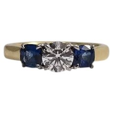 18k Yellow Gold and White Gold Diamond and Sapphire Ring
