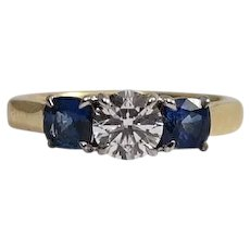 18k Yellow and white Gold Diamond and Sapphire Engagement Ring