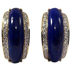18k Yellow Gold Lapis and Diamond Earrings