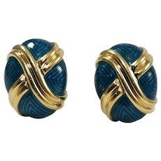 18k Yellow Gold Enamel Dome Earrings