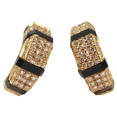 18k Yellow Gold Onyx and Diamond Hoop Earrings