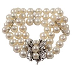 Mid Century 14k White Gold Pearl and Diamond Bracelet