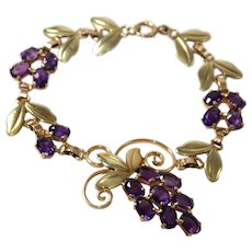 Retro 14k Yellow and Rose Gold Amethyst Bracelet