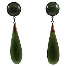 Mid Century 14k Yellow Gold Jade Earrings