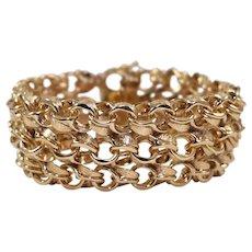 Mid Century 14k Yellow Gold Link Bracelet
