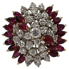 18k White and Yellow Gold Ruby and Diamond Ring