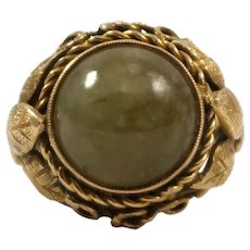 Mid Century 14k Yellow Gold Agate Ring