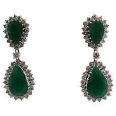 14k White Gold Emerald and Diamond Earrings