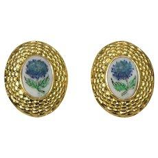18k Yellow Gold Agate Earrings