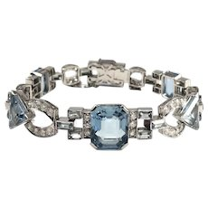 Art Deco Platinum Aquamarine and Diamond Bracelet