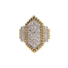 Webb 18k Yellow Gold and Platinum Diamond Ring