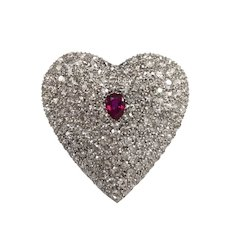 Art Deco Platinum Ruby and Diamond Brooch
