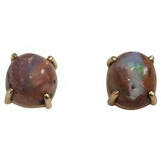 14k YEllow Gold Bolder Opal Earrings