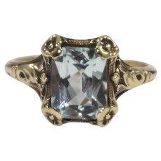Antique 14K Yellow Gold Aquamarine Ring