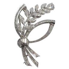 Mid Century Platinum Diamond Brooch