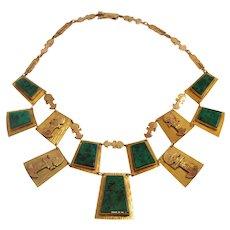 Peruvian 18k Yellow Gold Malachite Necklace
