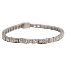 Mid Century Platinum Diamond Bracelet