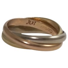 Cartier 18k Yellow, Rose, and White Gold Rolling Band