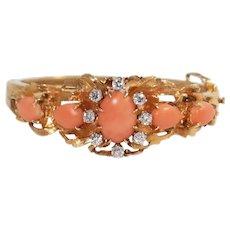 14k Yellow Gold Coral and Diamond Bangle Bracelet