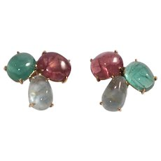 14k Yellow Gold Tourmaline and Aquamarine Earrings