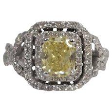 Platinum Yellow Diamond Engagement Ring