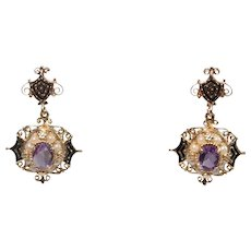 Mid Century 14k Yellow Gold Amethyst and Pearl and Enamel Earrings