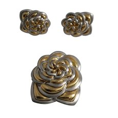 18k Yellow and White Gold Earrings and Brooch Set