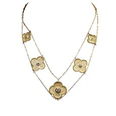 18k Yellow Gold Diamond Alhambra Style Necklace and Earring Set