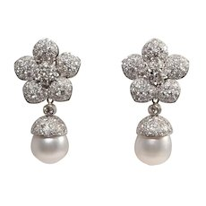 18k White Gold South Sea Pearl and Diamond Earrings