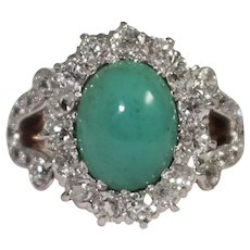 Edwardian 14k Yellow Gold and Platinum Turquoise and Diamond Ring