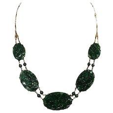Art Deco 14k Yellow Gold Jade Necklace