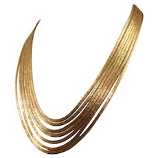 18k Yellow Gold Spaghetti Necklace
