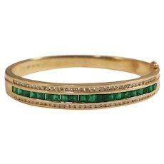 14k Yellow Gold Emerald and Diamond Bangle Bracelet