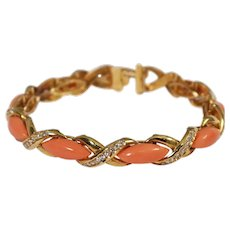 Cartier 18k Yellow Gold Coral and Diamond Bracelet
