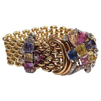 18k Yellow Gold Sapphire and Diamond Bracelet
