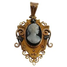 Victorian 14k Yellow Gold Diamond Cameo Pendant