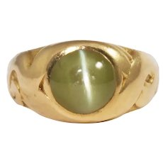 Art Nouveau 14k Yellow Gold Cats Eye Ring