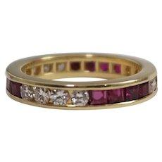 18k Yellow Gold Ruby and Diamond Eternity