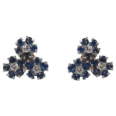 14k White and Yellow Gold Sapphire and Diamond Earrings