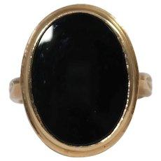Mid Century 10k Yellow Gold Onyx Ring