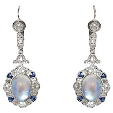 Art Deco Platinum Diamond, Sapphire, And Moonstone Earrings