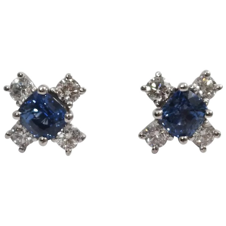 14k White Gold Shire And Diamond Earrings