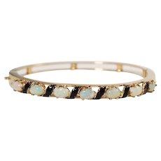 Mid Century 14k Yellow Gold Opal and Enamel Bangle Bracelet